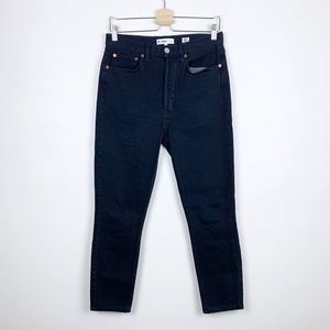 Re/Done Super High Rise Ankle Crop Skinny Jeans